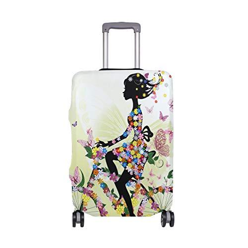 ALINLO Meisje Op Fiets Met Vlinder Bloemen Bagage Cover Bagage Koffer Reisbeschermer Fit voor 18-32 Inch