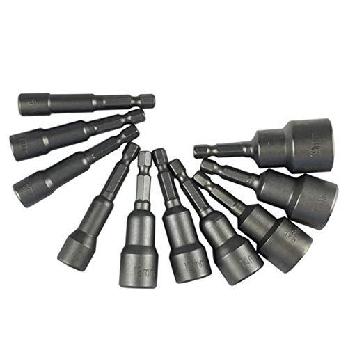 Juego de 10 llaves de vaso hexagonales magnéticas de 1/4 pulgadas, adaptador de brocas hexagonales, 6/7/8/10/12/13/14/15/17/19 mm, juego de puntas magnéticas