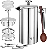IKICH French Press Coffee 112XIN, 2 Stainless Steel Mixing Spoon, 2 More Additional