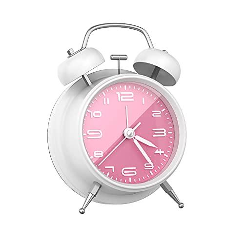 Despertador Analogico Silencioso Sin Tictac, Reloj Despertador Vintage Retro con Luz, Alarma...