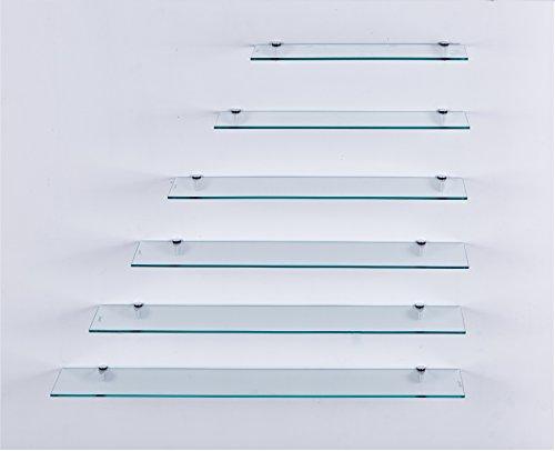 Euro Tische Glas Wandregal Klarglas - Glasregal mit 6mm ESG Sicherheitsglas - perfekt geeignet als Badablage/Glasablage für Badezimmer - Verschiedene Größen (60 cm)