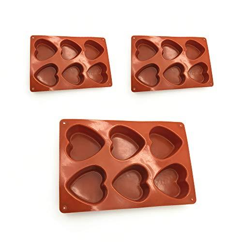 Tendlife Molde de horno para tarta de corazón, molde de silicona con 6 ranuras