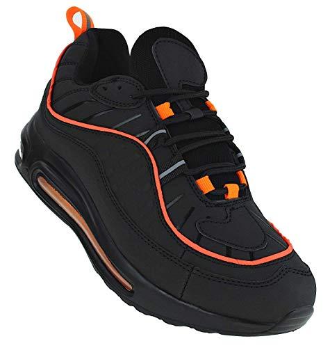 Bootsland Neon Turnschuhe Sneaker Sportschuhe Luftpolstersohle Unisex 068, Schuhgröße:45, Farbe:Schwarz/Orange