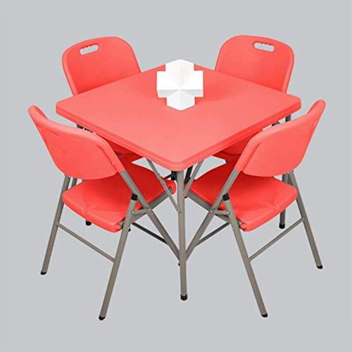N/Z Tägliche Ausstattung Tische 5Pc Klappstuhl Set Esszimmer Gästespielzimmer Küche Mehrzweck Indoor Outdoor Rot