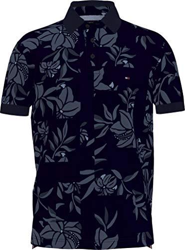 Tommy Hilfiger Patchwork Flower Print REG Polo Camisa, Azul Nocturno/Multi, M para Hombre