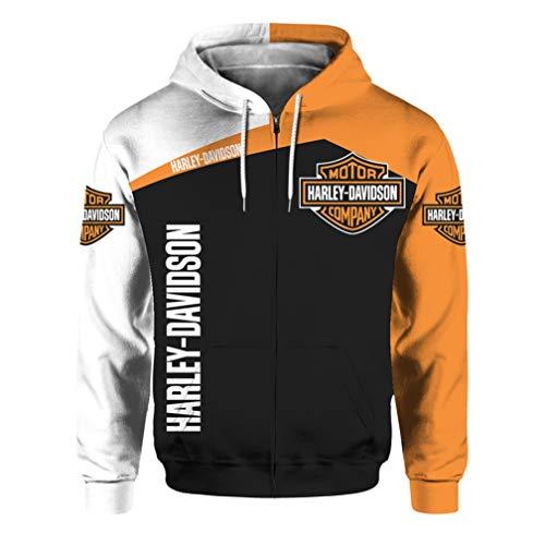 Unisexe Printemps Et Automne Vêtements D'extérieur à Manches Longues 3D Numérique Harley Davidson Logo Imprimé Zipper à Capuche Sweat Décontracté (1,L)
