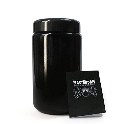 Masterdam Jars 400ml StashShield UV Glass Jar - Smell-Proof Ultraviolet Storage Stash Jar Container Refillable Tall Wide-Mouth
