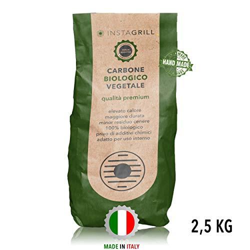 Carbone Biologico Vegetale di Legna di Faggio e Leccio 2.5 kg | Carbone per Barbecue, Grill, Grigliata InstaGrill o Barbecue da Tavolo Senza Fumo