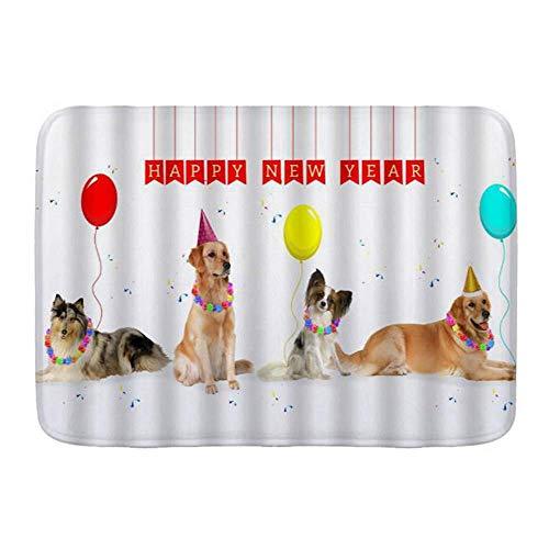 Fußmatten, Hund Party Golden Retriever mit Kegel Hut Frohes Neues Jahr Tierliebhaber Ball Lustiges Haustier, Küche Boden Badteppich Matte Saugfähig Innen Badezimmer Dekor Fußmatte Rutschfest