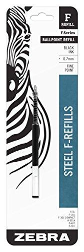 Zebra F-Series Ballpoint Stainless Steel Pen Refill, Fine Point, 0.7mm, Black Ink, 1-Count