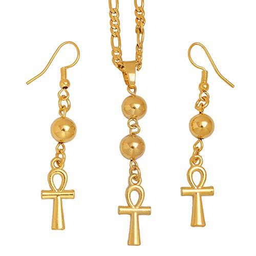 NCDFH Pendientes de Collar con Cruz de jeroglíficos de Egipto Africano de Color Dorado para Mujer, joyería de Ankh Egipcio, Regalos # J0948, tamaño Variable, 60 cm por 3 mm, Chian