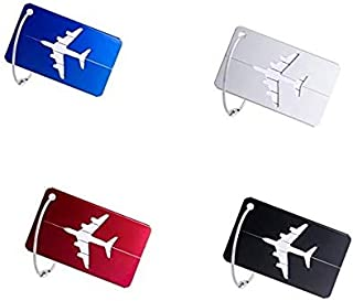 Luggage Tags, Set of 4 Aluminium Metal Travel Suitcase ID Identifier Tag Labels Bag Baggage Name Address Label with Screw Chain