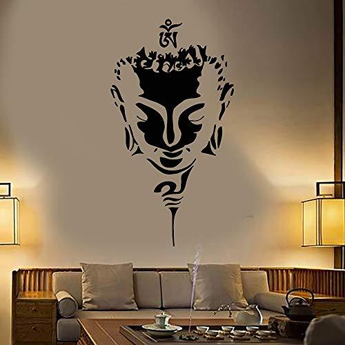 Tianpengyuanshuai Wandaufkleber Wohnkultur Wohnzimmer Abziehbilder Kunst Wandbilder Handwerk Tapete Buddha Kopf Wandmuster Vinyl-63x123cm