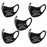 Watopi 5 Stück Mundschutz Weihnachtsmaske 3D Weihnachten Waschbar Maske Baumwolle Stoff Mund-Nasenschutz Nasenclips Atmungsaktiv Stoffmaske Alltagsmaske Weihnachtsmotiv Multifunktionstuch Halstuch