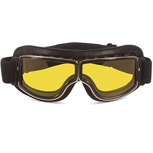 TYSKL Retro Pilot Motorcycle Goggles Fog-proof Warm Riding Goggles ATV Bike Motocross Glasses Protective Eyewear(Black/Yellow Lens)