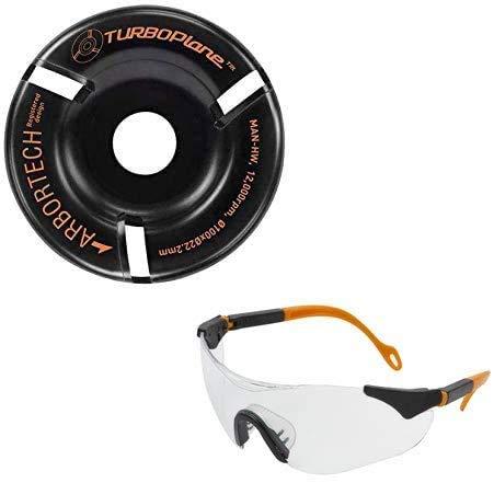 ARBORTECH TURBO Plane inkl. Schutzbrille | Ø 100 mm Hartmetall Frässcheibe für Winkelschleifer zur Holzbearbeitung