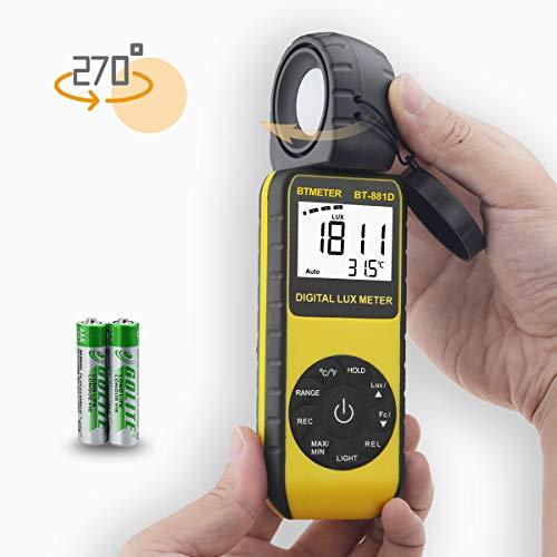 デジタルルクスメーター BTMETER BT-881D 0.01-400000Lux照度測定、照度計 光度計搭載 気温機能、高精度計測、センサー270°回転、付データレコード LCDバックライト、撮影、植物栽培、室内照明の明るさ