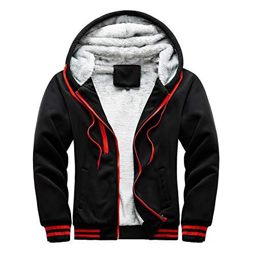 Misaky Teen Boys's Fashion Hodie, Winter Warm Fleece Hood Zipper Coat Jacket (H_Black, M)