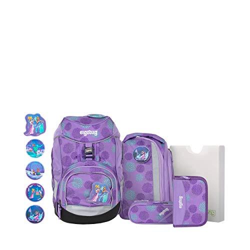 ergobag pack Set - ergonomischer Schulrucksack, Set 6-teilig - SchlittenzauBär Glow - Lila