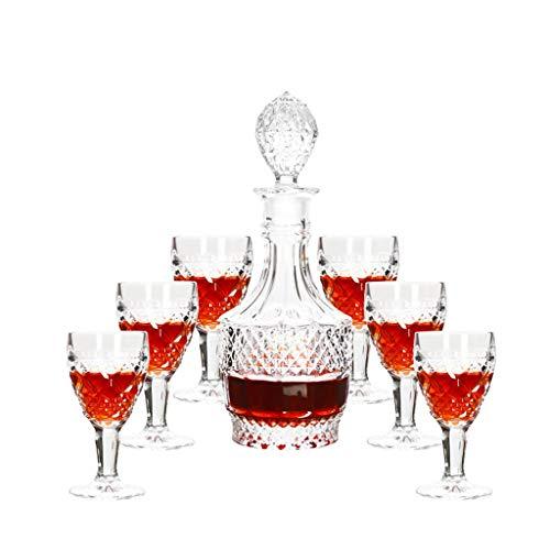 Xuan - worth having Copas de Vino Set de Vino de 7 Piezas Luz Creativa Lujo de Lujo de Estilo Europeo Copa de Vino Copa de Vino Botella de Vino Set de Vino Inicio Decantador de Cristal de Cristal