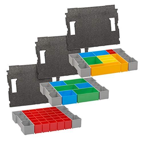 Bosch Sortimo L BOXX Einlage-Set für l-Boxx 102 | L BOXX Insetboxen A3 CD3 H3 3er Set & Bosch L BOXX 102 Einlage | LBOXX Einlage mit Deckelpolster für lbox leer altes Modell