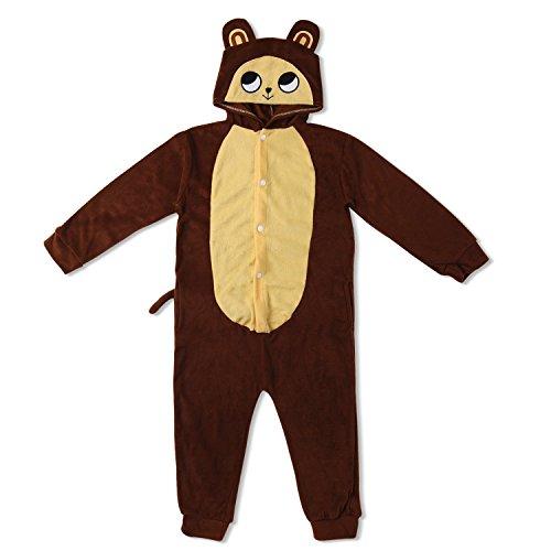 Kinder Fleece Onesie - Affen Kostüm 2 - 9 Jahre - Gemütlicher Jumpsuit für Fasching, Cosplay, Karneval - Plüsch Verkleidung für Party als witziger AFFE in Braun