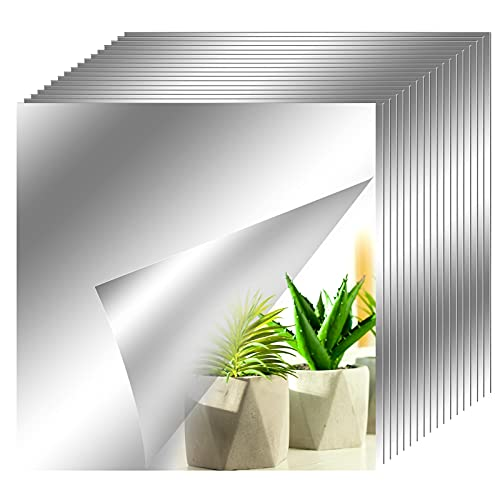 axuanyasi 18 Stück Spiegelfliesen Selbstklebend Abgerundete Ecke Spiegel Aufkleber Wandspiegel Zum Wanddekoration Silber (15 x 15) cm