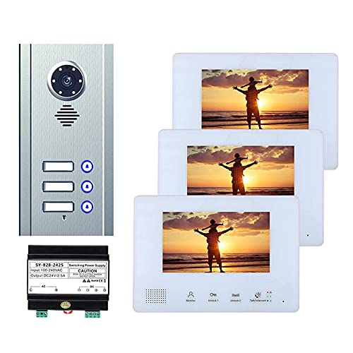 Bus Timbre con Video de 2 Cables, intercomunicador con videoportero de 7 Pulgadas para el hogar, apartamento de 3 Unidades, cámara + 3 s
