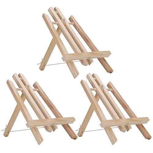 Caballete de madera, 3 piezas con capacidad para hasta 30 cm, lienzo, arte, madera de pino, tipo tornillo, estante de exhibición de pintura, caballetes de exhibición de mesa, para exhibir