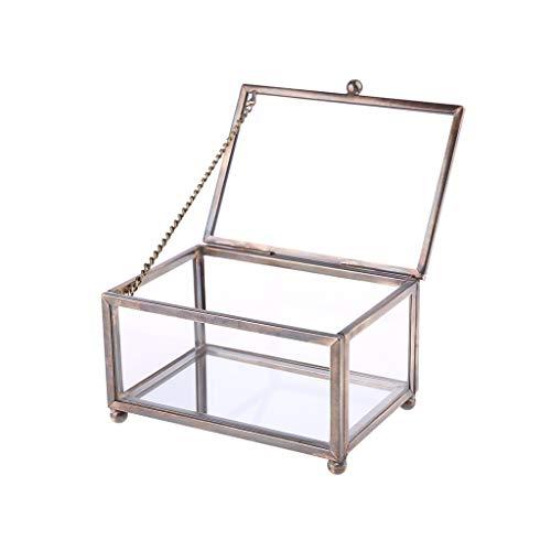 GREEN&RARE Caja para anillos de boda de cristal transparente nórdico, soporte de almacenamiento de flores eternas, adornos innovadores para decoración del hogar