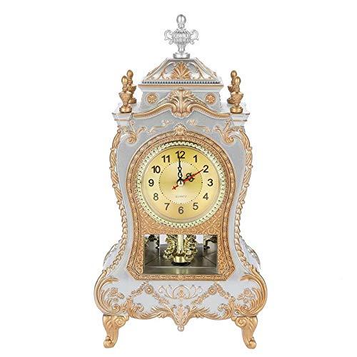 Aobay Escritorio Reloj Despertador Vintage Reloj clásico Royaltiño Sala de Sentado TV Cabinete Escritorio Mobiliario Imperial Creativo Sit Péndulo Reloj (Color : UN)