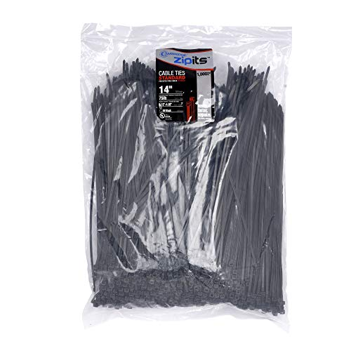 Cambridge ZipIts Cable Ties 14 Inch 75 Lb Standard Duty Zip Ties 1000 Pieces UV Black UL Listed Contractor Quality Industrial Strength