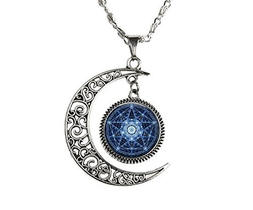 Moon Pentagram Pendant, Pagan Necklace, Paganism...
