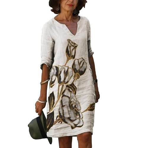Xiakolaka Plus Size Linen Dresses for Women Classic-Fit V Neck Floral Print Dresses Summer Casual Half Sleeve Midi Dress