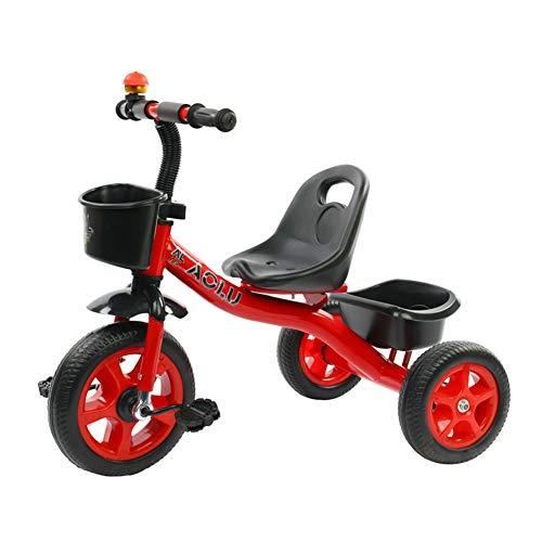 Triciclos Rojos/Rosados para Niñas, Trike para Niños De 2/3/4/5 / Años De Edad para Niños, Pedal De Bicicleta De 3 Ruedas Paseo En, Asiento Ajustable (Color : Rojo)