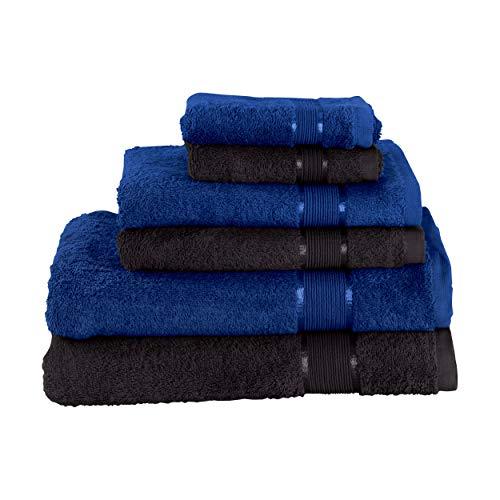 Mixibaby Juego de toallas de mano (2 toallas de baño, 2 toallas de ducha, 2 toallas de mano, color azul oscuro, combinado, color: negro)