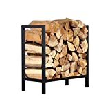 Firewood Rack Log Rack 24 Inch Indoor/Outdoor Fire Wood Storage Black Steel Firewood Log Holder