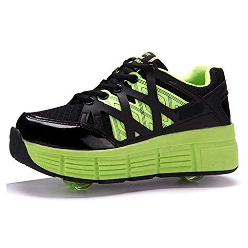 Aupast Zapatillas de Skate de Doble Rueda para Deportes al Aire Libre, Zapatillas de Gimnasia, Zapatillas de Skate técnicas retráctiles, Zapatillas Deportivas para Correr para niños y niñas