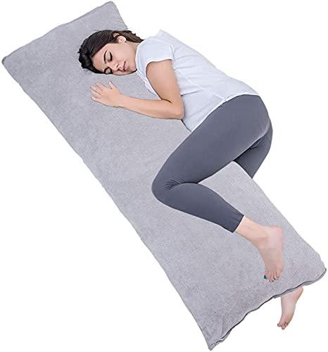 AS AWESLING Seitenschläferkissen mit atmungsaktivem Veloursbezug, Schwangerschaftskissen, 40x145cm weichem Still- und Schlafkörperkissen (grau)