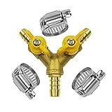 Da by Válvula de Bola con lengüeta para Manguera 3/8' Conector de latón en Forma de Y 2 interruptores Conector de 3 vías (para ID de Manguera 10 mm-11 mm)