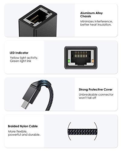 USB C-zu-Ethernet-Adapter,Maxonar USB-IF-zertifizierter RJ45-zu-Thunderbolt3-Gigabit-Netzwerk-LAN-Konverter Typ C (0,6m/2ft),Kompatibel mit MacBook Pro M1 2020/2019/2018,MacBook Air,Dell XPS,Pad Pro