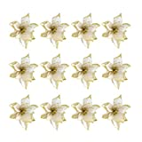 NUOBESTY 24pcs Glitter Poinsettia Adornos para árboles de Navidad Artificial Poinsettia Flor para Decoraciones navideñas Doradas
