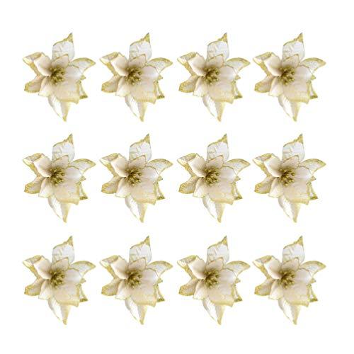 NUOBESTY 24pcs Glitter Weihnachtsstern Christbaumschmuck künstliche Weihnachtsstern Blume für Weihnachtsschmuck golden