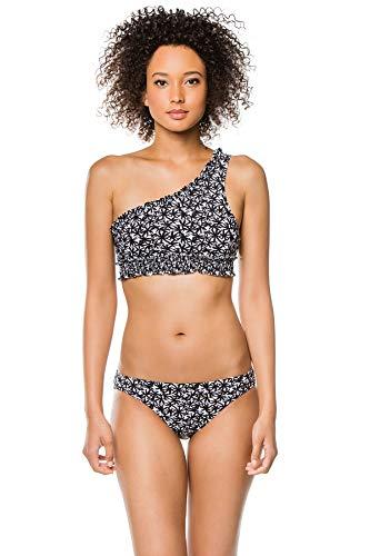 Kisuii Women's Palm Print Asymmetrical Bikini Top Black/White L
