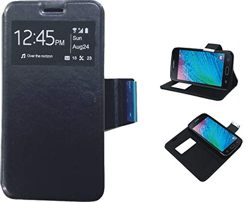 LG Q6- Funda de Libro Flip con Tapa Ventana Color Negro