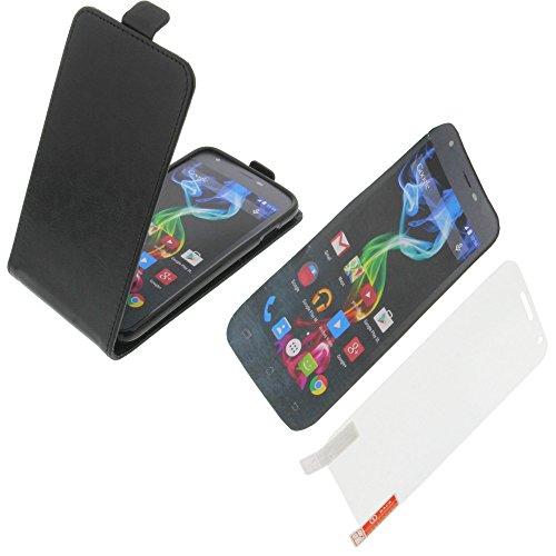 foto-kontor Tasche für Archos 50c Platinum Smartphone Flipstyle Schutz Hülle schwarz + Schutzfolie