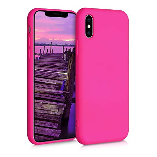 kwmobile Cover Compatibile con Apple iPhone XS - Custodia in Silicone Effetto Gommato - Back Case Protezione Cellulare - Rosa Shocking