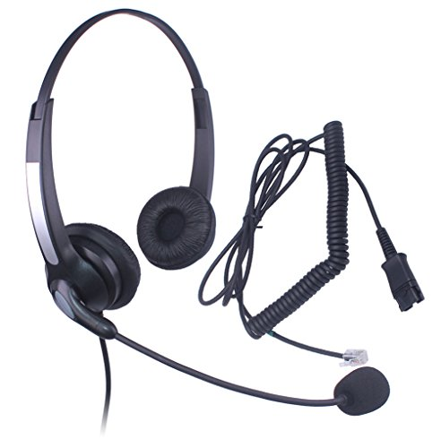 Audicom Corded Call Center Phone Headset Headphones with Quick Disconnect for Polycom SoundPoint IP Phone Series 550 600 601 650 300 301 430 500 Lazerbuilt Orchid IP Telephone Ear Phone (301QDRJ1F)