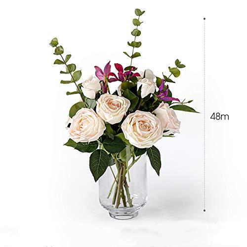 LHY DECORATION Künstliche Rose Blumen gefälschte Pflanzen mit stilvoller Klarglas-Vase, Real Touch Parfüm Blumen-Blumenstrauß von Qualitäts-Hochzeit Startseite Decoratios,Rosa