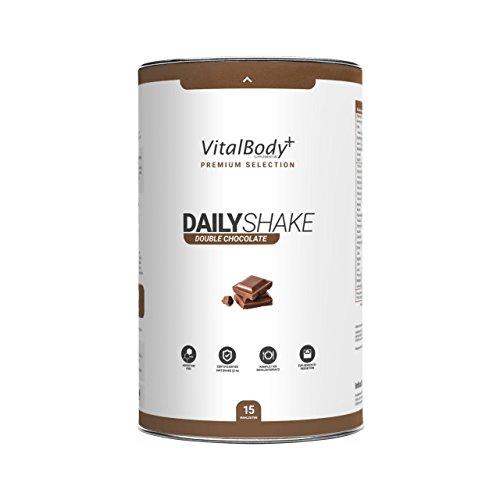 VitalBodyPLUS® DailyShake, Double Chocolate, 450 g, Mahlzeitenersatz-Shake zum Abnehmen, 15 Mahlzeiten vollwertig & kalorienarm ersetzen